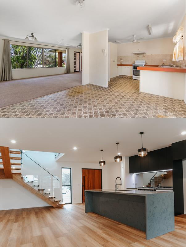 Buddina house renovation before after interior